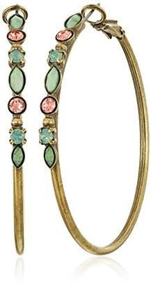 "Sorrelli Gem Pop"" Crystal and Semi-Precious Encrusted Hoop Earrings"