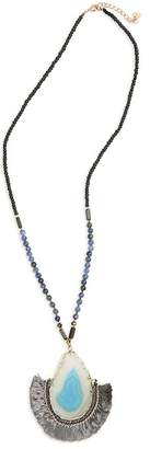 Nakamol Design Beaded Accent Tassel Trim Pendant Necklace
