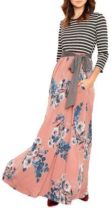 Lrud Women's Loose Floral Print Scoop Neck 3/4 Sleeve Pocket Casual Maxi Dress