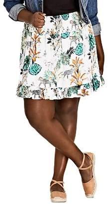 City Chic Plus Jungle Study Ruffle Skirt