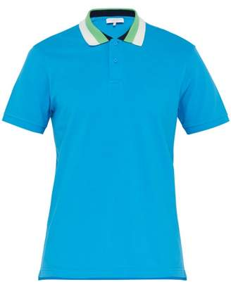 Orlebar Brown Jarrett Striped Collar Cotton Pique Polo Shirt - Mens - Mid Blue