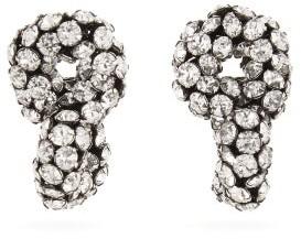 Saint Laurent Crystal Loop Clip Earrings - Womens - Crystal