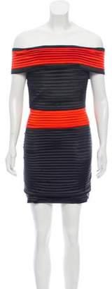 Balmain Off-The-Shoulder Structured Dress w/ Tags Black Off-The-Shoulder Structured Dress w/ Tags
