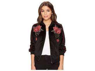 BB Dakota Eleni Velvet Bomber Jacket with Floral Patches Women's Coat