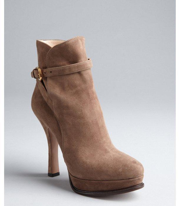 Prada mink suede buckle platform ankle boots