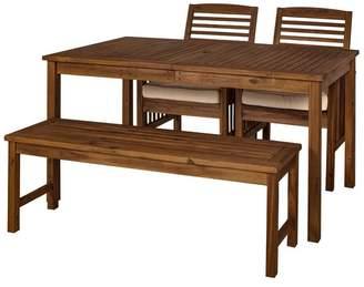 Walker Edison Acacia Wood Simple Patio 4-Piece Dining Set