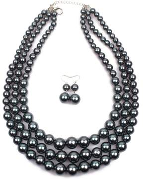 LISA.MOON Luxury Pearls Jewelry Set Necklace and Earings for Women Wedding Party
