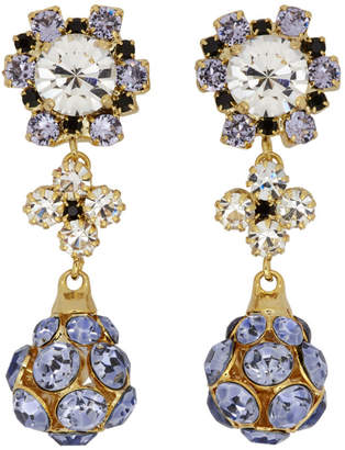 Erdem Purple and Gold Jewelled Drop Earrings