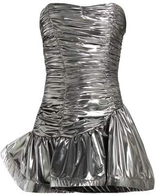 ATTICO The Strapless Lame Ruched Dress - Womens - Silver
