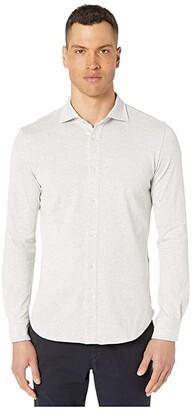 Eleventy Jersey Knit Spread Collar Shirt