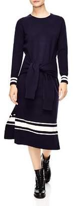 Sandro Bryone Stripe Sweater Midi Dress
