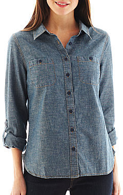 JCPenney St. John's Bay Button-Front Chambray Shirt