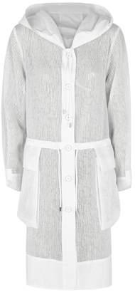 Crea Concept White Striped Lightweight Organza Coat