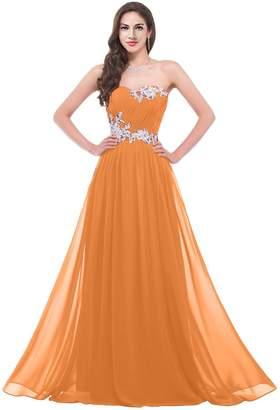 VaniaDress Women Sweetheart Chiffon Long Evening Bridesmaid Dress V020LF US