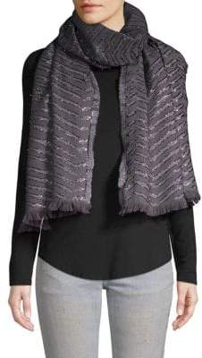 Badgley Mischka Patterned Frayed Scarf