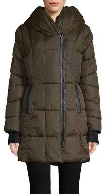 French Connection Hooded Quilted Coat