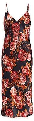 L'Agence Women's Jodie Rose-Print Silk Slip Midi Dress