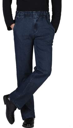 Zoulee Men's Full Elastic Waist Denim Pull On Jeans Straight Trousers Pants M