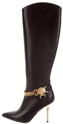 Versace Medusa Leather Knee-High Boots
