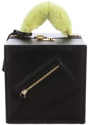 Natasha Zinko Mink Fur-Trimmed Leather Box Bag