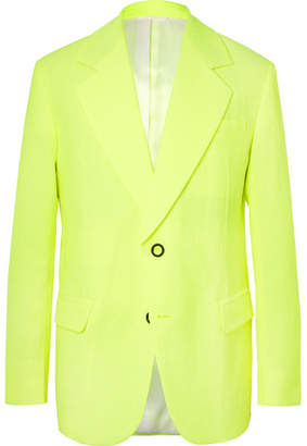 Acne Studios Neon-Yellow Jabir Linen-Blend Blazer