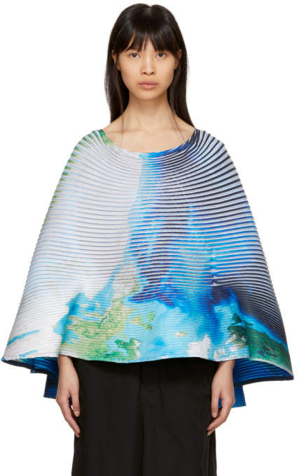 Multicolor Pleated Globe Poncho
