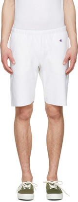 Champion Reverse Weave White Warm Up Shorts $75 thestylecure.com