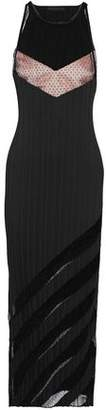 Alexander Wang Layered Swiss-Dot Tulle-Paneled Satin Midi Dress