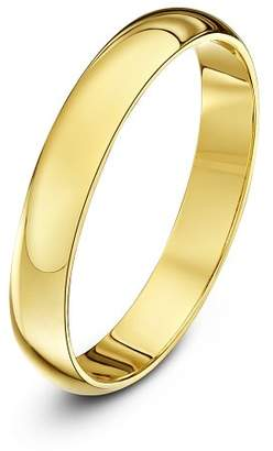 Theia Unisex Super Heavy D Shape Polished 18 ct Gold Wedding Ring, Yellow gold, K (Measure 10)