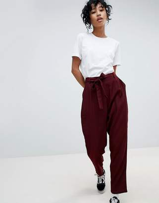 Pieces Tie Waist Tailored Trousers