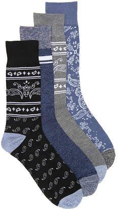 Lucky Brand Bandana Crew Socks - 4 Pack - Men's