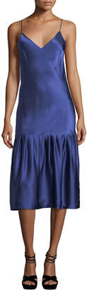 Neiman Marcus Maggie Marilyn Don't Underestimate Me Silk Satin Midi Slip Dress
