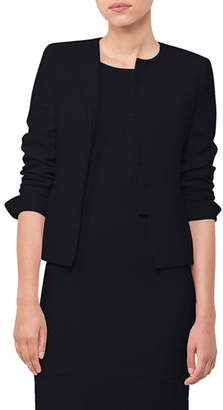 Akris Round-Neck Snap-Front Wool Crepe Short Jacket