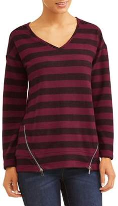 French Laundry Women's Long Sleeve Super Cozy Side Zip T-Shirt
