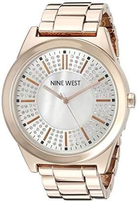 Nine West Women's NW/1742WMRG Crystal Accented -Tone Bracelet Watch