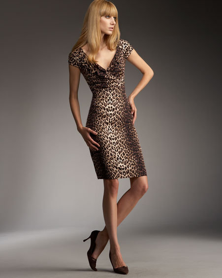 Kay Unger New York Leopard-Print Jersey Dress