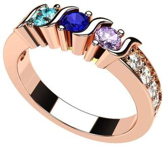Central Diamond Center NANA S-Bar W/Sides Mother's Ring 1 to 6 - 14k Rose Gold - Size 9.5