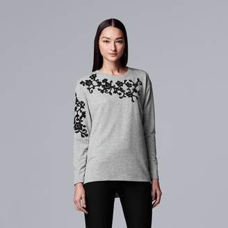 Vera Wang Women's Simply Vera Floral Applique Sweater