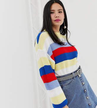Monki colour block stripe jumper