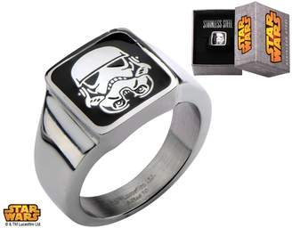 Disney Star Wars Officially Licensed Men's Stainless Steel Stormtrooper Square Top Ring Size 9