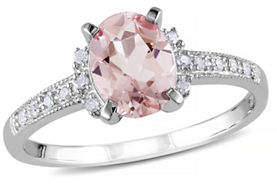 HBC CONCERTO 1.14TCW Morganite and Diamond Sterling Silver Ring