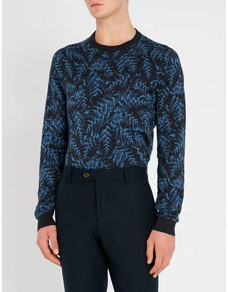 John Smedley Sonda leaf-patterned cotton jumper