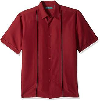 Cubavera Men's Contrast Insert Stitching Short Sleeve Woven Shirt