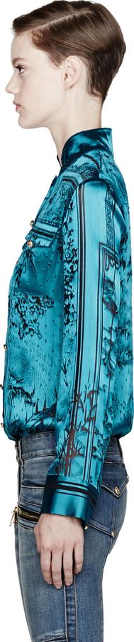 Balmain Aquamarine Velvet Burnout Blouse