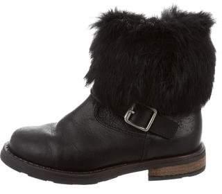 Il Gufo Girls' Leather Fox Fur-Trimmed Boots