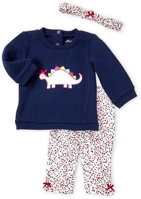 Little Me Newborn/Infant Girls) 3-Piece Quilted Dino Top & Pants Set