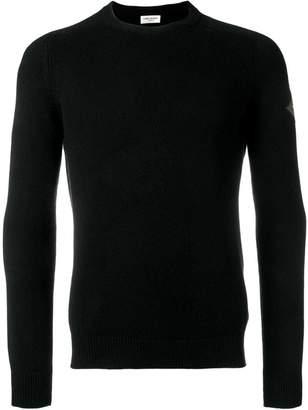 Saint Laurent logo patch cashmere jumper