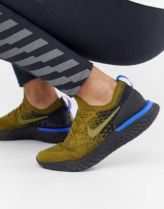 Nike Running Epic React Flyknit sneakers in khaki aq0067-301