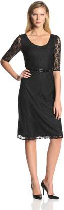 Star Vixen Women's Elbow Sleeve Lace Midi Dress with Belt