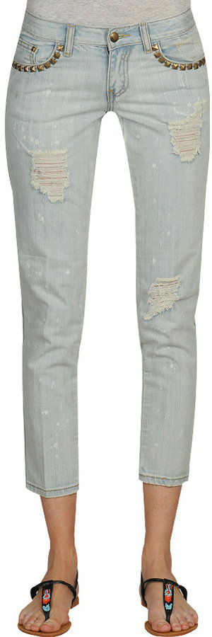 Stud Trim Pocket Skinny Jean